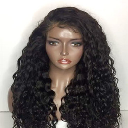 Discount cambodian hair full lace wig - Lace Front Human Hair Wigs with Pre Plucked Hairline Cambodian Deep Wave Full Lace Wigs for Black Women