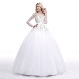 open skirt ball dress UK - Stunning Ball Gown Wedding Dresses Illusion Long Sleeves Sheer with Beading Sequins Open Back Plus Size Wedding Dresses
