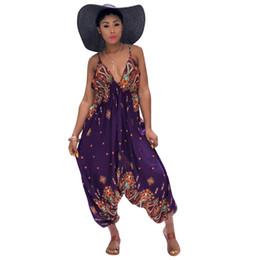 7a7624cc67d Halter Deep V Neck Sexy Jumpsuits Summer Sleeveless Backless Loose Romper  Women Printing Empire Loose Leg Beach Overall