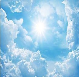 China papel de parede 3d fantasy sunshine blue sky white clouds scenic art zenith fresco wallpapers 3d wall supplier static heat suppliers