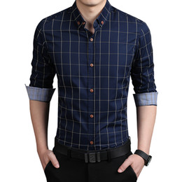wholesale plus size clothing dresses 2019 - 2018 New Autumn Fashion Brand Men Clothes Slim Fit Men Long Sleeve Shirt Plaid Cotton Casual Shirt Social Plus Size 5XL