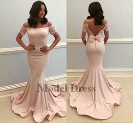 spring water sale Canada - Blush Pink Evening Dresses Mermaid Open Back Lace Short Sleeve Spaghetti Straps Bow Formal Elegant Women Evening Gowns 2018 Hot Sale