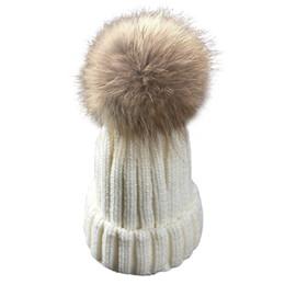 0c0deb74e6692d Baby Kids 17cm Real Raccoon Fur Hat Winter Spring Warm Crochet Caps Fashion  Boys Girls Pom Pom Hats Bonnet