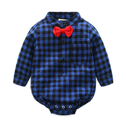 China Xida Unisex Baby Fashion Check Pattern Cotton Long Sleeve Jumpsuit Blouse Suit Crawling Clothes Romper for baby suppliers