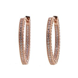 8030745e2 oxidized rose gold color with clear cubic zirconia hoops 925 sterling silver  valentines gift heart engraved circle girl earring