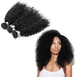 12 Inch Weft Human Hair Australia - Noble Human Hair Weaving Black 8-30 inch 3 Pieces Afro Curly Wave Human Hair Bundles Top Selling HairExtensionWeft