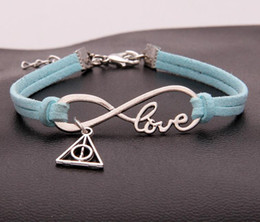 silver knot cuff bracelet NZ - Vintage Silver LOVE Infinity Triangle Knot Charms Bracelet Bangle For Men Women Mixed Color Velvet Rope Cuff Bracelets Jewelry 20PCS