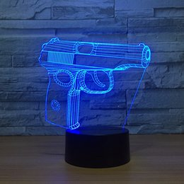 Batteries Usb Mouse Canada - Illusion Pistol 3D Optical Illusion Lamp Night Light DC 5V USB Powered AA Battery Wholesale Dropshipping Free Shippin