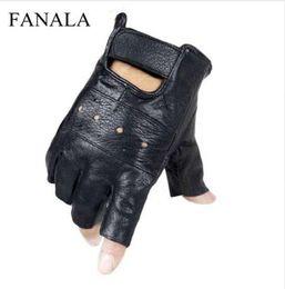 $enCountryForm.capitalKeyWord Australia - Slip-resistant Leather Sheep moto Leather Fingerless Men Gloves Finger Quality Luvas Keeper gants Gloves Half High Genuine Long