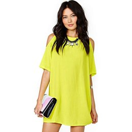 Cozy Shirt NZ - Fashion Women Summer Dress Casual Short Sleeve Off shoulder O-neck Chiffon Dress Cozy Pour Color Ladies