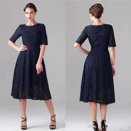 b3b01b613fb88 Dark Navy Lace Mother Of The Bride Dresses Tea Length Vintage Cocktail Party  Gowns with Short Half Sleeves Plus Size Wedding Guest Dress