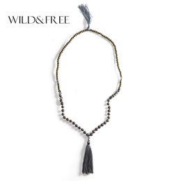$enCountryForm.capitalKeyWord UK - Wild&Free 2018 Boho Natural Stone Beaded Necklace Vintage Handmade Wood Gray Tassel Long Pendant Necklaces Statement Jewelry