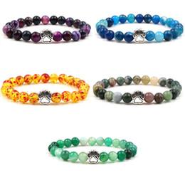 $enCountryForm.capitalKeyWord Canada - 7 Colors Dog Paw Stone Beads Bracelet Purple Blue Striped Agate Stone Bracelet for Men Women Stretch Jewelry