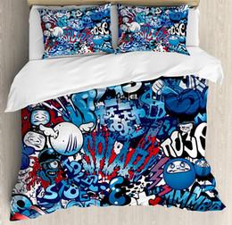 $enCountryForm.capitalKeyWord NZ - Modern Bedding SetTeenager Style Image Street Wall Graffiti Graphic Colorful Design Artwork Print 3 4pcsDuvet Cover Set