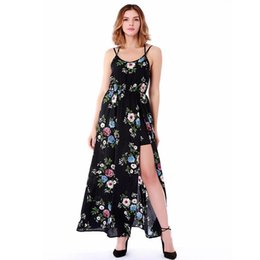 536f9ee912e Floral Print Suspenders Dress with Loose Slit Dresses Beach Dresses for  Women Girls Summer