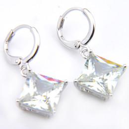 $enCountryForm.capitalKeyWord Canada - 10Prs Luckyshine Classic Fashion Fire Square White Topaz Cubic Zirconia Gemstone Silver Dangle Earrings for Holiday Wedding Party