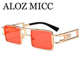 purple red color 2019 - ALOZ MICC Steampunk Sunglasses Men Women Alloy Frame Square Sun Glasses Designer Trendy Retro Female Shades Eyewear A453
