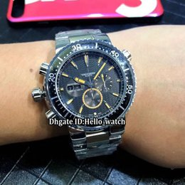 mens swiss chronograph luxury watches 2019 - New 45mm Prodiver Double Date Black Dial Swiss Quartz Chronograph Mens Watch Stopwatch Left Handed Stainless Steel Band