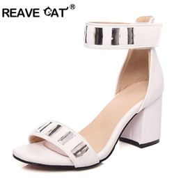 Cat Strap NZ - REAVE CAT Women's Mid heels shoes Summer sandals Big size 34-46 Causal PU Or Flock Buckle strap Black White Pink Wine QL6483