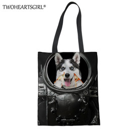 $enCountryForm.capitalKeyWord Australia - TWOHEARTSGIRL Cute Husky Pattern Girls Canvas Handbag Function Portable Women Tote Bag Female Shopping Travel Beach Top Hand Bag