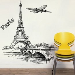 Discount paris room decorations - Romantic Tower Paris Aircraft Decorative Wall Stickers For Living Room Bedroom Decorations PVC Mural Decor Wall Art DIY