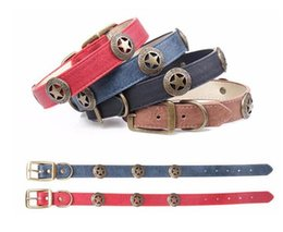 summer dog collars 2019 - Fashion PU Leather Pet Dog Collar For Large Dog Bronze Shield Decoration Neck Strap Adjustable Size Pet Accessories Top