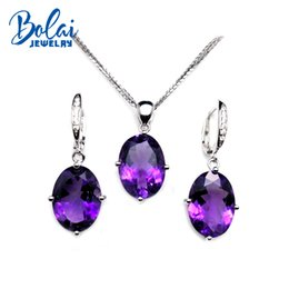 Pendant Clasp For Earrings Australia - Bolaijewelry,925 sterling silver jewelry set natural africa good color amethyst pendant clasp earring for women party ngift
