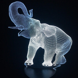 $enCountryForm.capitalKeyWord NZ - Visual Animal Elephant Shape 3D Illusion LED Table Lamp Night Light 7 Colors Change Bedroom Sleeping Christmas Decoration #T56