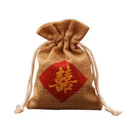 "double happiness wedding gift 2019 - Burlap Favor Bag"" Double Happiness "" Chinese Words Printing Wedding Marriage Party Candy Gift Bag Free Shippin"