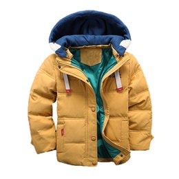 Discount winter parkas for kids - children Down & Parkas 4-10T winter kids outerwear boys casual warm hooded jacket for boys solid warm coats 2018