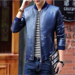high neck motorcycle jacket fashion 2019 - High quality Autumn Men's Leather Jackets Men Stand Collar Fashion PU Leather Coats Male Motorcycle Outerwear Slim