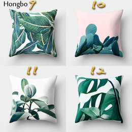 Tropical cushions online shopping - Square Pillow Case Christmas Decorations For Home Tropical Rain Forest Green Leaves Cactus Cushion Covers