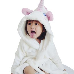 girls baby night dress UK - cute Unicorn Nightgowns baby girls Bathrobe Flannel kids white robe hooded pajamas bath dress children night wear clothes 70-100cm