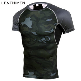 Wholesale Mens Jersey NZ - Brand Running Shirt Men Compression Tights Men's Short Sleeve T-Shirts Quick Dry Sport Jersey Gym Fitness Top Mens Rashgard Camo