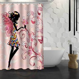 $enCountryForm.capitalKeyWord NZ - Hot Sale Custom Butterfly Girl Custom Shower Curtain Waterproof Fabric Bath Curtain for Bathroom F#Y1-17