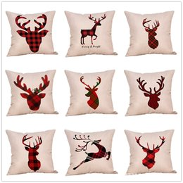 Knitted car pattern online shopping - Christmas Plaid Elk Pattern Pillow Case Linen Cotton Chair Pillowcase Car Traveling Sofa Home Decor Cushion Cover kx hh