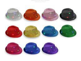 Flashing Fedora hats online shopping - 10pcs LED Hip Hop Jazz Hat Luminous Glowing Hat Colors Flashing Light Up Led Fedora Trilby Sequin Unisex Fancy Dress Dance Party Hat