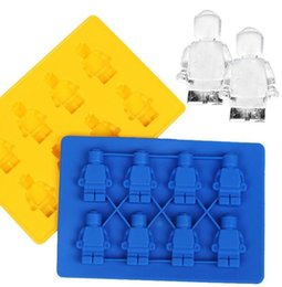 Ice Figures UK - Newest Silicone Ice Cube Tray Mini Robot Figure Silicon Cookies Cake Jelly Chocolate Mode Tray Blue Yellow Color For Kitchen Tools