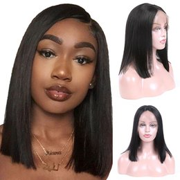 Discount full human lace wigs silky - Brazilian Lace Front Human Hair Wigs For Women Remy Hair Straight Wig With Baby Hair Natural Hairline Full End Black Col