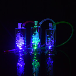 """Lighted Bong NZ - Unique Glass Colorful Bongs Water Pipe Led Light Oil Rigs Sailing Boat Mini Bong Small Dab Rig 5"""" inch Bubbler Percolator Banger 20"""" Hose"""