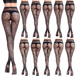 5d2ebd95bf1e64 New Women Sexy Lingerie Stripe Elastic Stockings Transparent Black Fishnet Stocking  Thigh Sheer Tights Embroidery Pantyhose