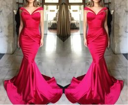 $enCountryForm.capitalKeyWord NZ - Hot Pink Ruffles Mermaid Evening Dresses 2019 Satin Off Shoulder Prom Dresses Backless Sweep Train Pageant Party Dresses Formal Wear