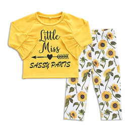 Clothing Boutique Suits Australia - Little Girls Letter Tops+Flower Pants Suits Spring Fall 2018 Kids Boutique Clothing Euro America Hot Sale Baby Girls Long Sleeves 2 PC Set