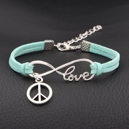 $enCountryForm.capitalKeyWord Canada - Punk Women Fashion Light Green Leather Suede Bracelets Infinity Love Peace Sign Bangles Vintage Men Fashion Accessories Jewelry Lover Gift