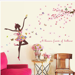 Discount flower fairy girl wall sticker - Romantic flower fairy girl Butterfly cherry tree wall sticker Creative modern style bedroom living room TV background ho