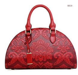 chinese handbags fashion UK - 2016 New Flowers Embossed Chinese Style Vintage Fashion Women Shell Bag Leather Women Handbag Ladies Shoulder Bag Female