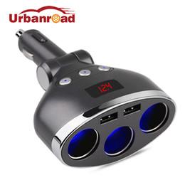 Discount sockets car cigarette adapter - Urbanroad 3 in 1 Dual USB Car Cigarette Lighter Socket Splitter Plug LED USB Charger Adapter Voltage 3.1A DC12V-24V For