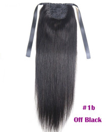 Extensiones de cola de caballo Kinky Straight para mujeres 100g Color # 1B Natural Black 100% Remy Human Hair PonyTail Extensions 60g 16