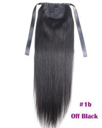 Extensions de queue de cheval Kinky Straight For Women 100g Couleur # 1B Naturel Noir 100% Remy Extensions de Cheveux Humains PonyTail 60g 16