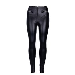 97f5113d8c290 Women Sexy PU Leather Leggings With Front Zipper Push Up Faux Leather High  Waist Pants Slim Jeggings Drop Shipping